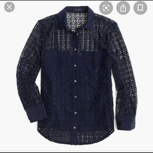 J. Crew Geometric Lace Button-Up Shirt